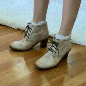 Bed STU Tan Lace Up Leather Booties Boho Hippie